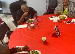 seniors eating at the table